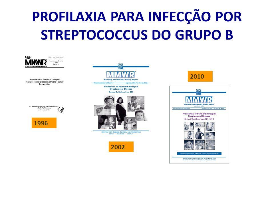 PROFILAXIA PARA INFECÇÃO POR STREPTOCOCCUS DO GRUPO B