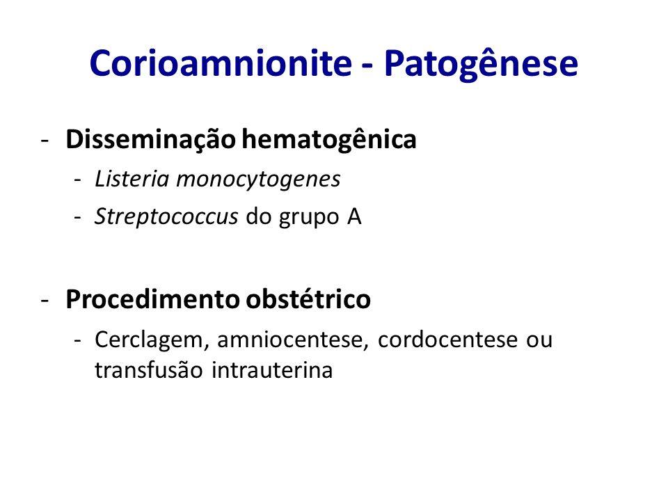 Corioamnionite – Fatores de risco FATOR DE RISCOParto termo OR Parto pré-termo OR Ruptura de membrana > 12 horas5,812,49 Monitoramento fetal invasivo2,011,42 > 4 toques vaginais durante o parto 3,071,59 Soper DE, Mayhall CG, Froggatt JW.