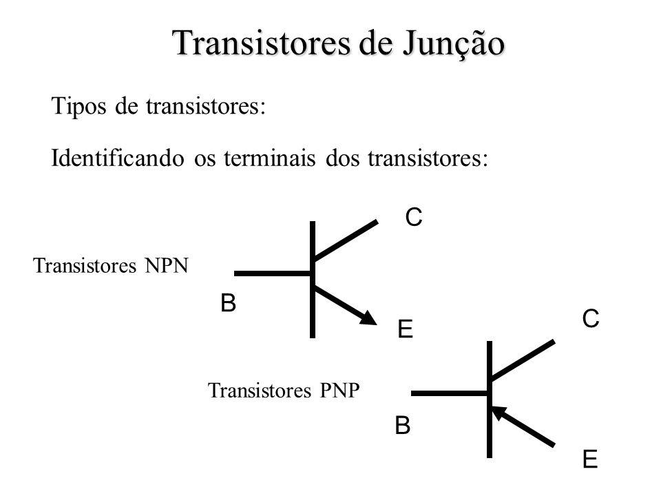 Tipos de transistores: Transistores PNP Transistores NPN Transistores de Junção Identificando os terminais dos transistores: B C E B C E