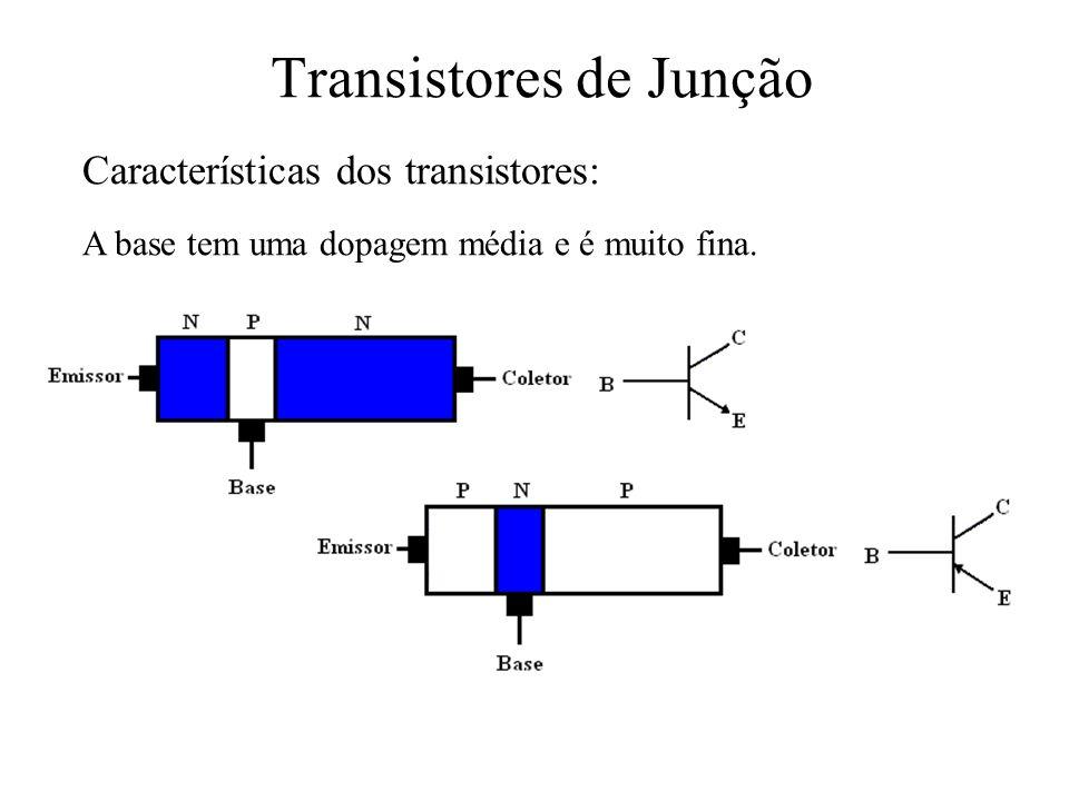 Transistores de Junção A base tem uma dopagem média e é muito fina. Características dos transistores: