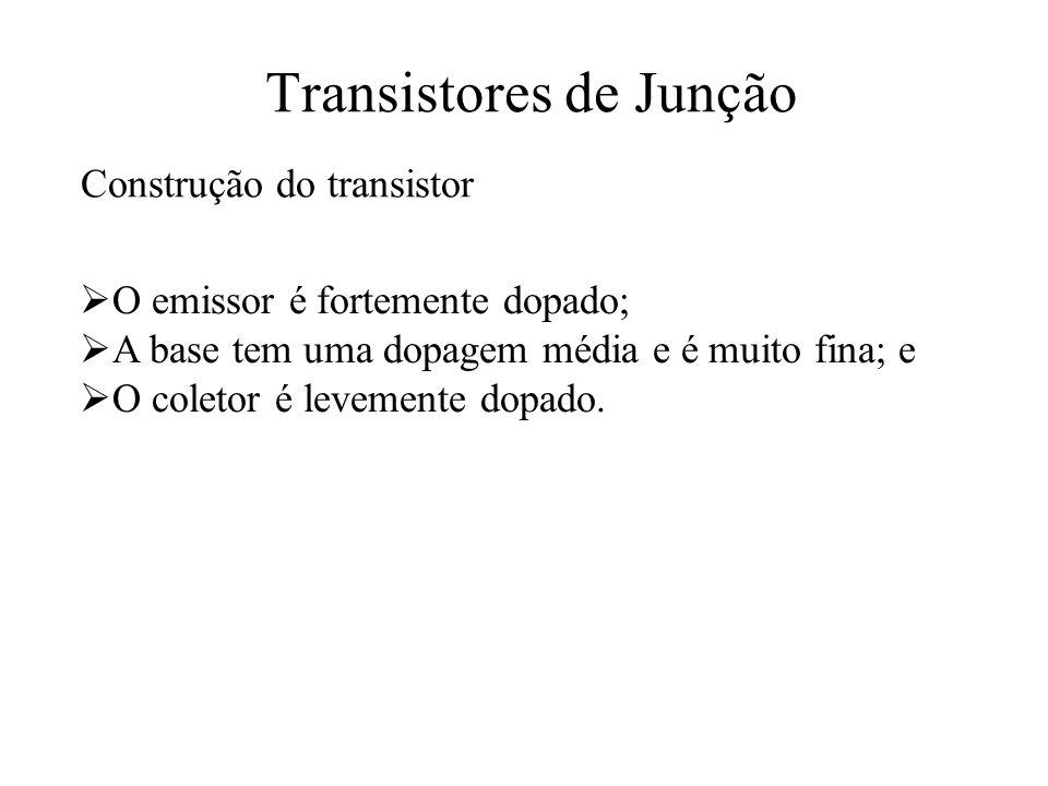 Transistores de Junção Construção do transistor O emissor é fortemente dopado; A base tem uma dopagem média e é muito fina; e O coletor é levemente do