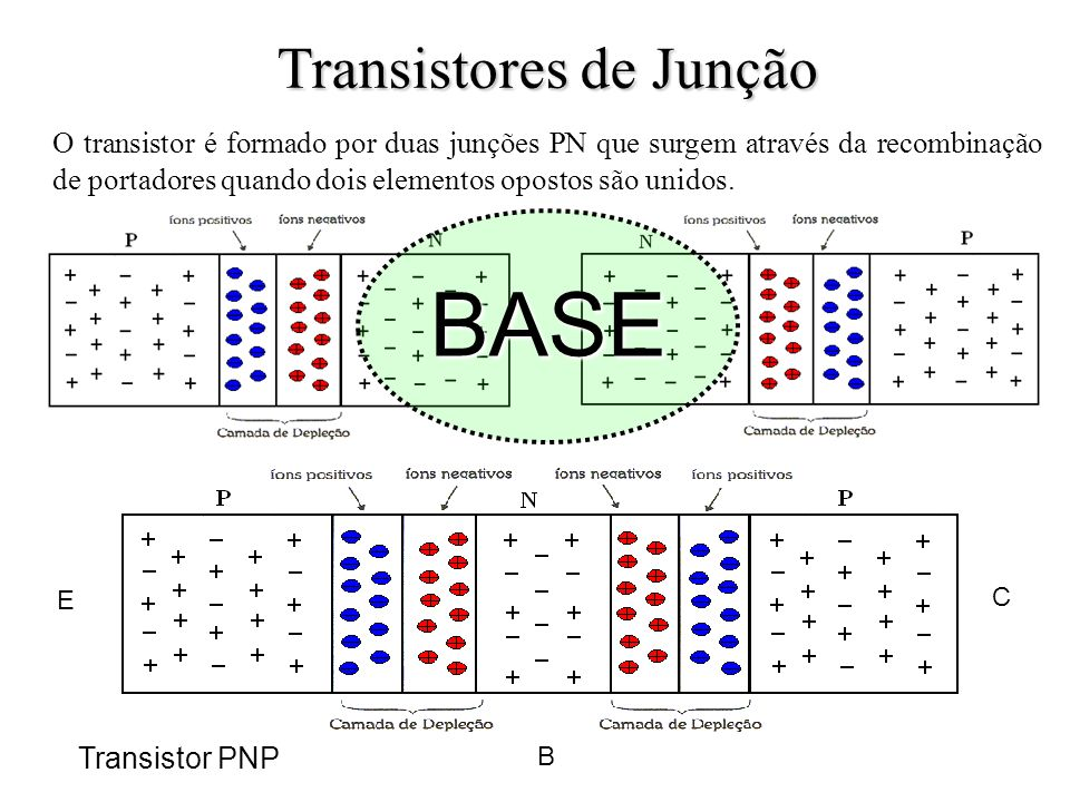 O transistor é formado por duas junções PN que surgem através da recombinação de portadores quando dois elementos opostos são unidos. BASE E C B Trans