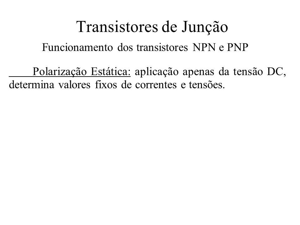 Transistores de Junção Funcionamento dos transistores NPN e PNP Polarização Estática: aplicação apenas da tensão DC, determina valores fixos de corren