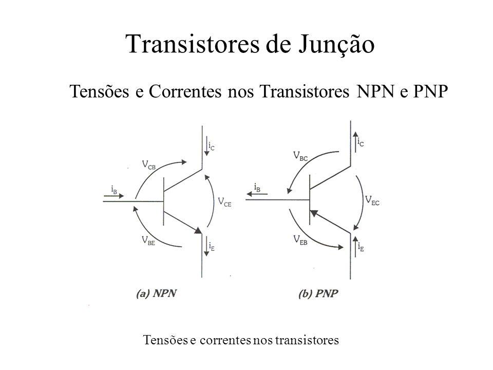 Transistores de Junção Tensões e Correntes nos Transistores NPN e PNP Tensões e correntes nos transistores