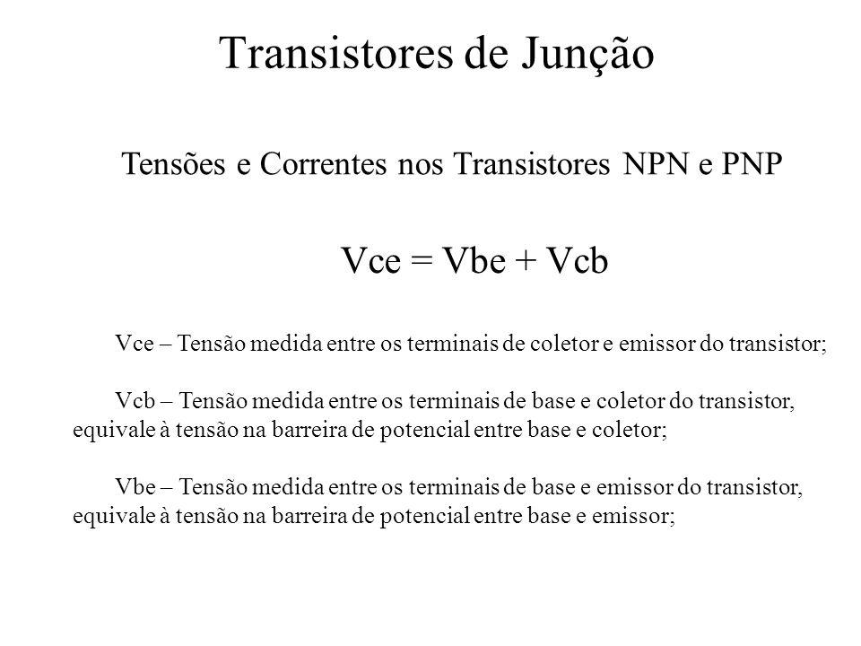 Transistores de Junção Tensões e Correntes nos Transistores NPN e PNP Vce = Vbe + Vcb Vce – Tensão medida entre os terminais de coletor e emissor do t