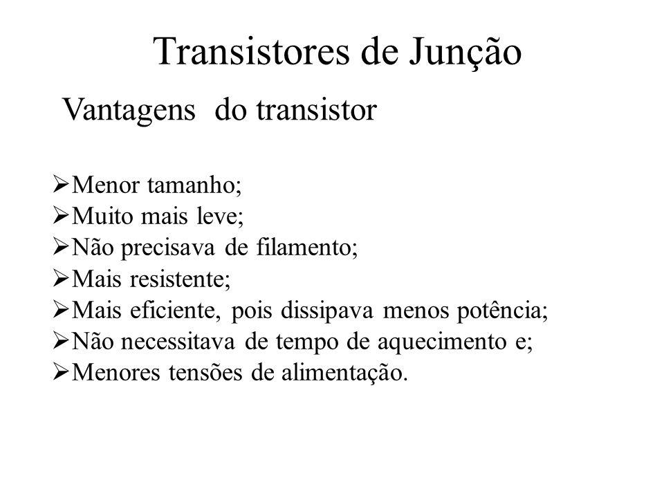Transistores de Junção Menor tamanho; Muito mais leve; Não precisava de filamento; Mais resistente; Mais eficiente, pois dissipava menos potência; Não