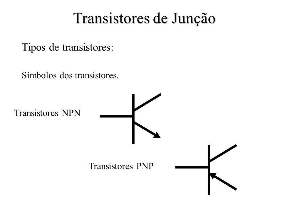 Tipos de transistores: Símbolos dos transistores. Transistores PNP Transistores NPN Transistores de Junção
