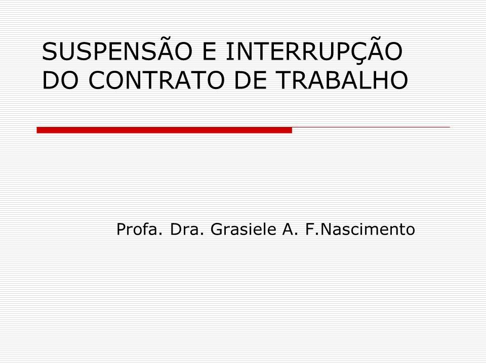 SUSPENSÃO E INTERRUPÇÃO DO CONTRATO DE TRABALHO Profa. Dra. Grasiele A. F.Nascimento
