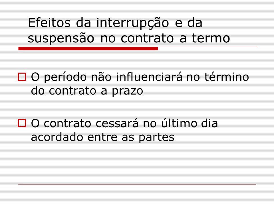 Efeitos da interrupção e da suspensão no contrato a termo O período não influenciará no término do contrato a prazo O contrato cessará no último dia a