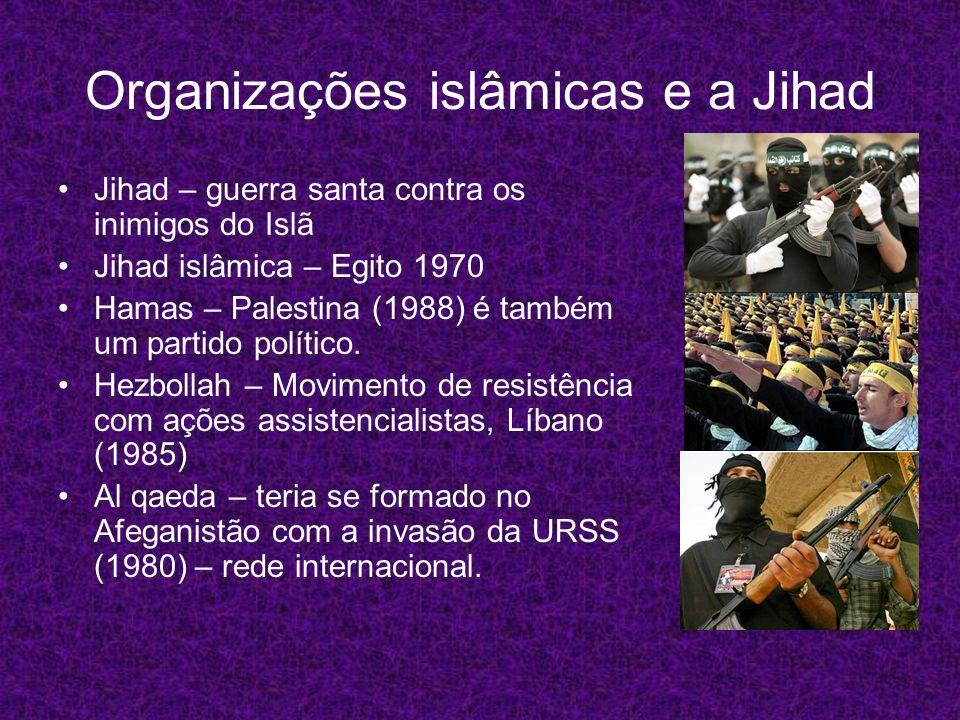 Organizações islâmicas e a Jihad Jihad – guerra santa contra os inimigos do Islã Jihad islâmica – Egito 1970 Hamas – Palestina (1988) é também um part