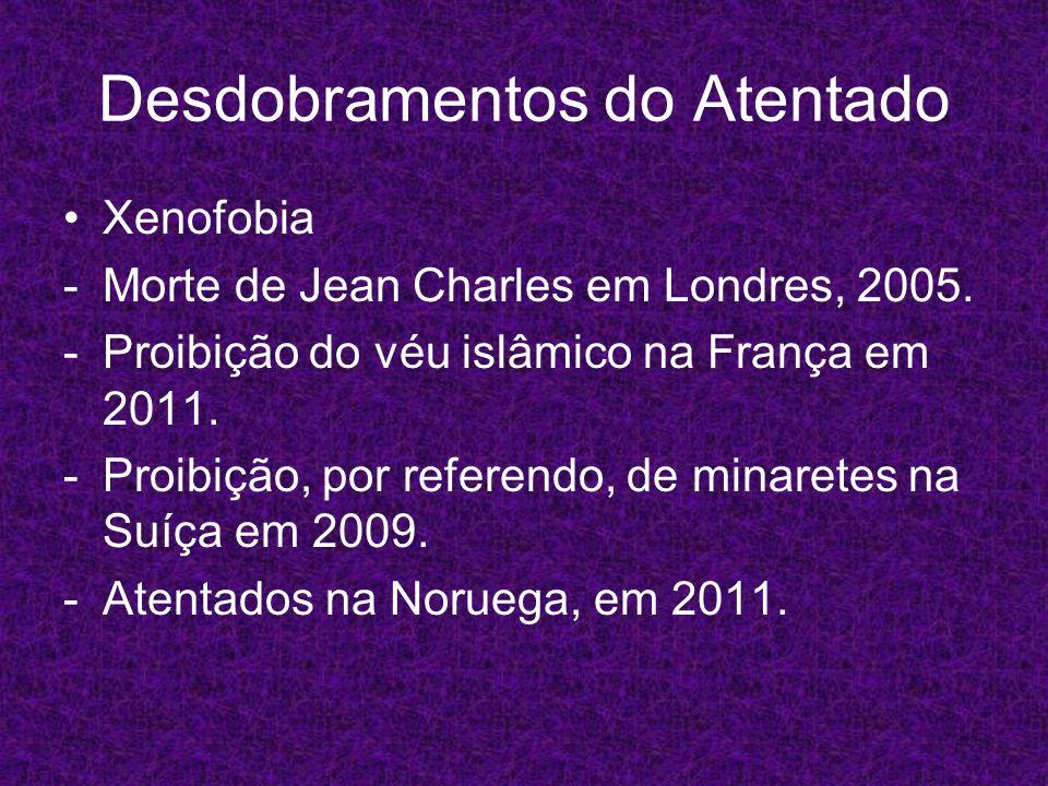 Desdobramentos do Atentado Xenofobia -Morte de Jean Charles em Londres, 2005. -Proibição do véu islâmico na França em 2011. -Proibição, por referendo,