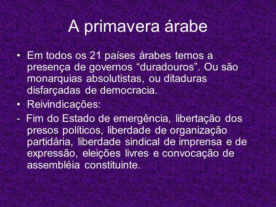 A primavera árabe Em todos os 21 países árabes temos a presença de governos duradouros. Ou são monarquias absolutistas, ou ditaduras disfarçadas de de