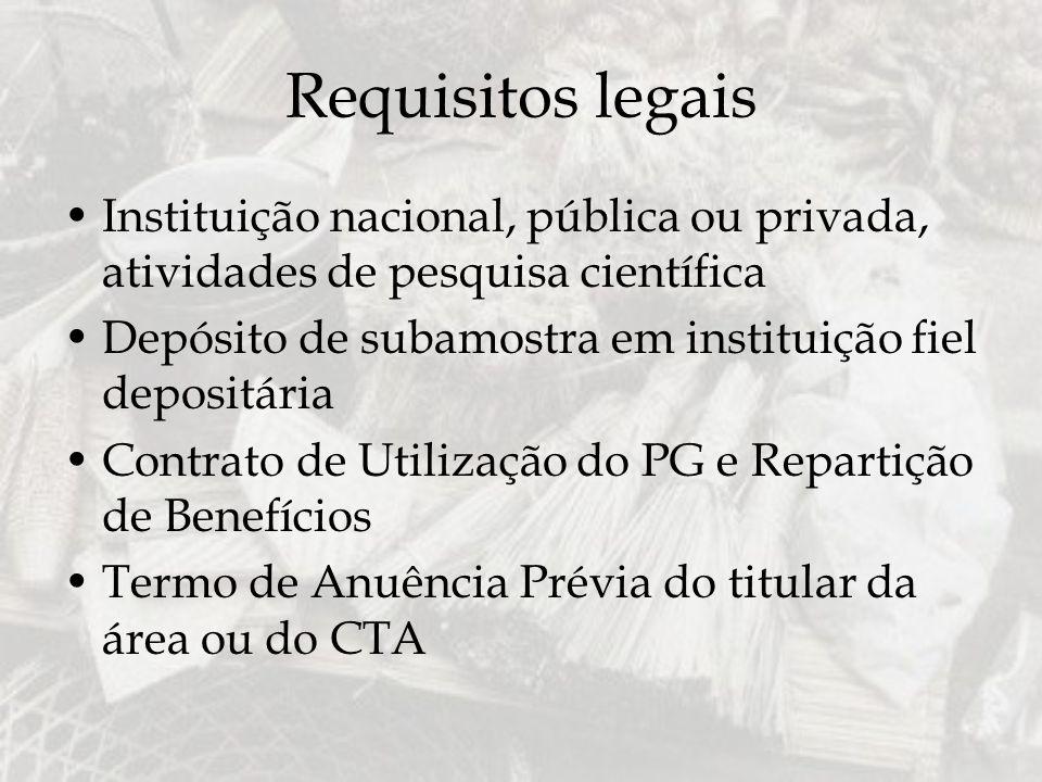 Requisitos legais Instituição nacional, pública ou privada, atividades de pesquisa científica Depósito de subamostra em instituição fiel depositária C