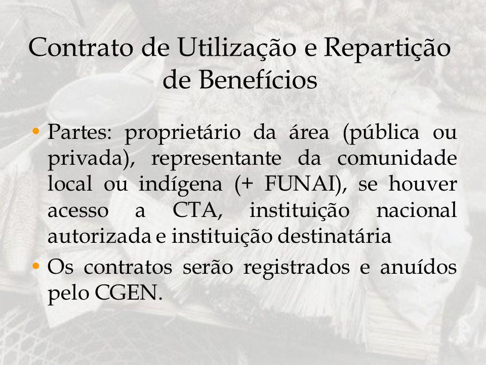 Contrato de Utilização e Repartição de Benefícios Partes: proprietário da área (pública ou privada), representante da comunidade local ou indígena (+