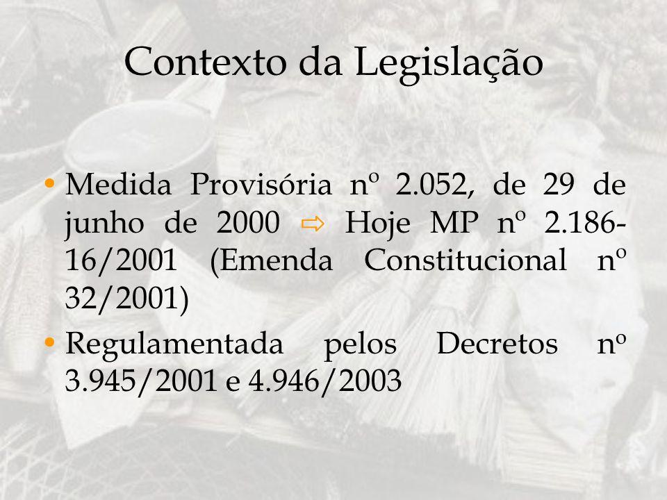 Contexto da Legislação Medida Provisória nº 2.052, de 29 de junho de 2000 Hoje MP nº 2.186- 16/2001 (Emenda Constitucional nº 32/2001) Regulamentada p