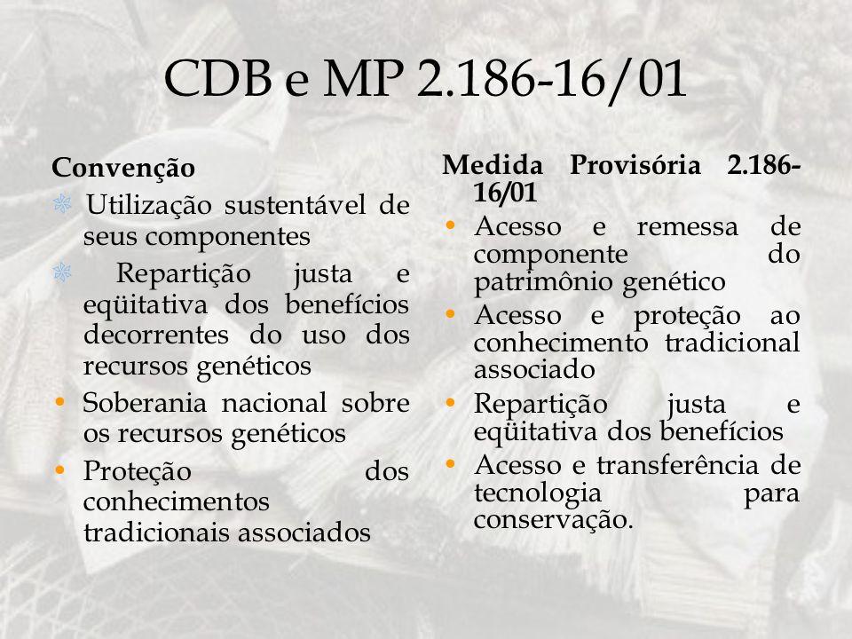 CDB e MP 2.186-16/01 Convenção Utilização sustentável de seus componentes Repartição justa e eqüitativa dos benefícios decorrentes do uso dos recursos