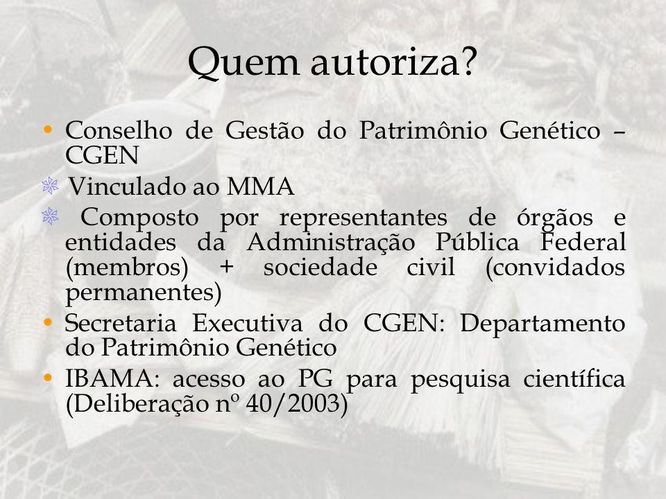 Quem autoriza? Conselho de Gestão do Patrimônio Genético – CGEN Vinculado ao MMA Composto por representantes de órgãos e entidades da Administração Pú