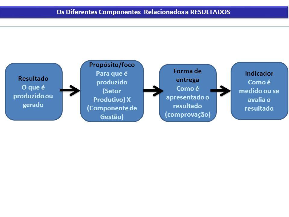 Os Diferentes Componentes Relacionados a RESULTADOS Resultado O que é produzido ou gerado Propósito/foco Para que é produzido (Setor Produtivo) X (Com