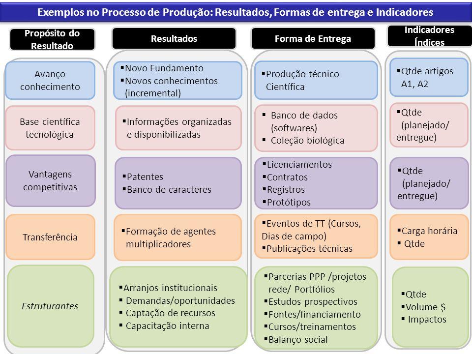 Exemplos no Processo de Produção: Resultados, Formas de entrega e Indicadores Avanço conhecimento Base científica tecnológica Vantagens competitivas P