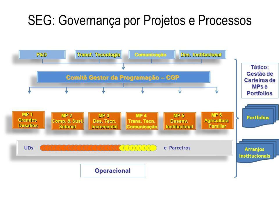 P&D P&D Transf. Tecnologia Des. Institucional ComunicaçãoComunicação Comitê Gestor da Programação – CGP MP 1 GrandesDesafios GrandesDesafios MP 2 Comp