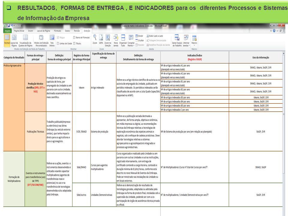 RESULTADOS, FORMAS DE ENTREGA, E INDICADORES para os diferentes Processos e Sistemas de Informação da Empresa