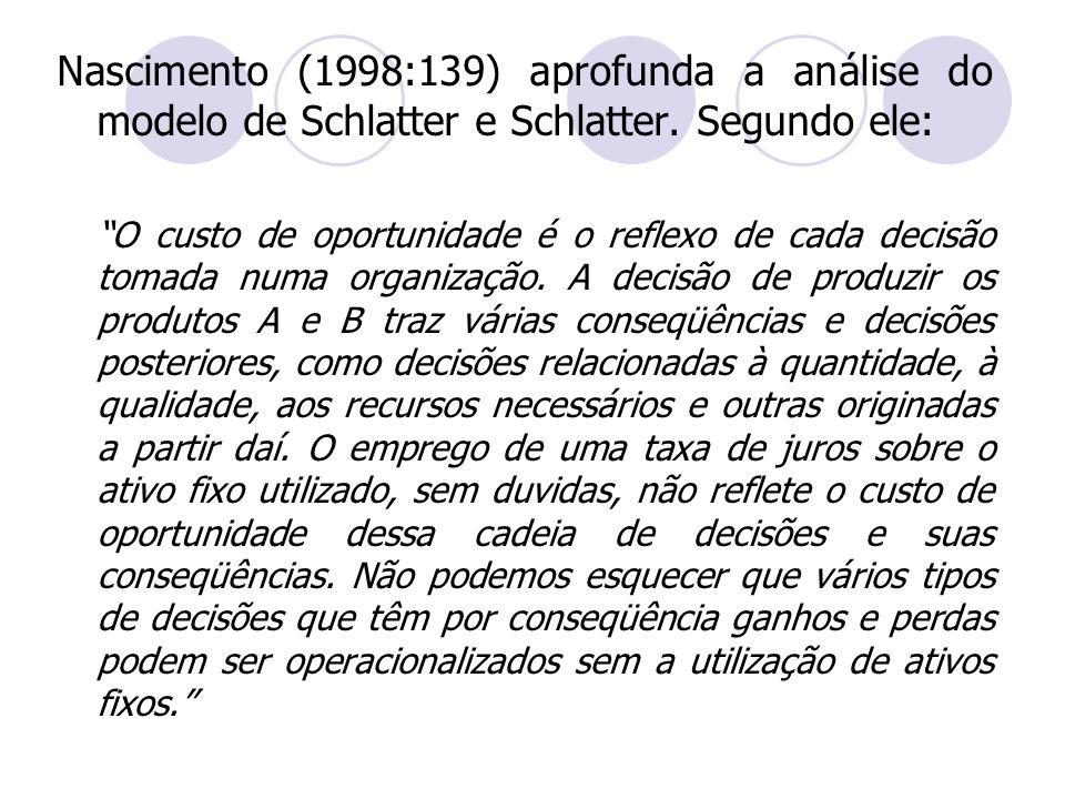 Nascimento (1998:139) aprofunda a análise do modelo de Schlatter e Schlatter. Segundo ele: O custo de oportunidade é o reflexo de cada decisão tomada