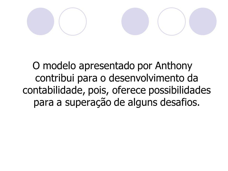 O modelo apresentado por Anthony contribui para o desenvolvimento da contabilidade, pois, oferece possibilidades para a superação de alguns desafios.