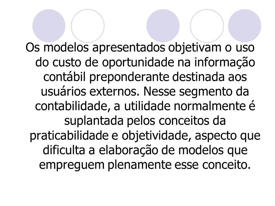 Os modelos apresentados objetivam o uso do custo de oportunidade na informação contábil preponderante destinada aos usuários externos. Nesse segmento