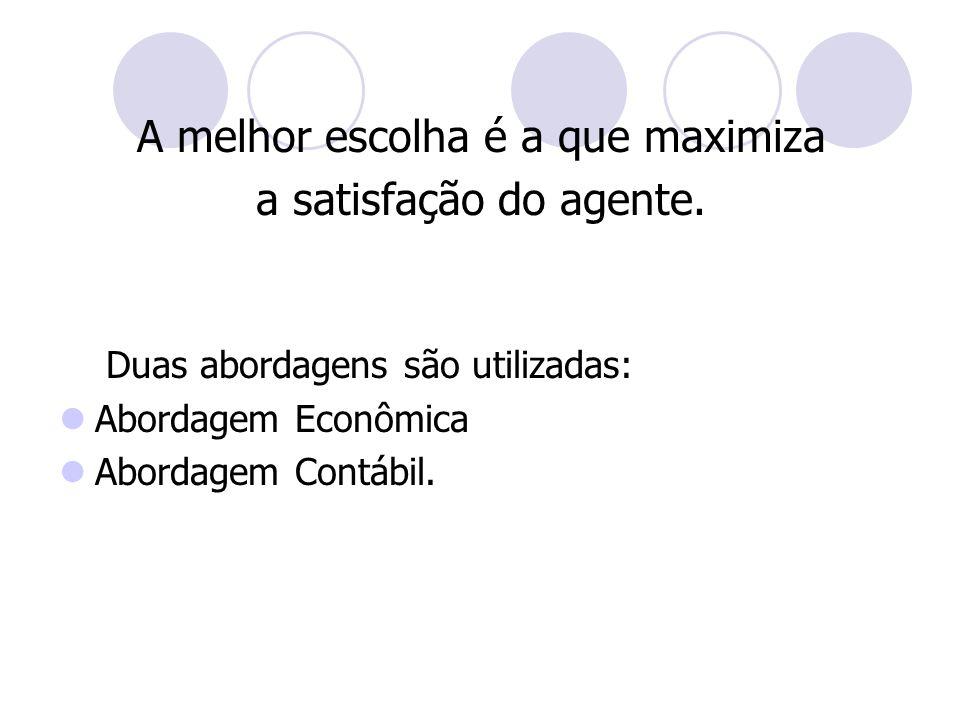A melhor escolha é a que maximiza a satisfação do agente. Duas abordagens são utilizadas: Abordagem Econômica Abordagem Contábil.