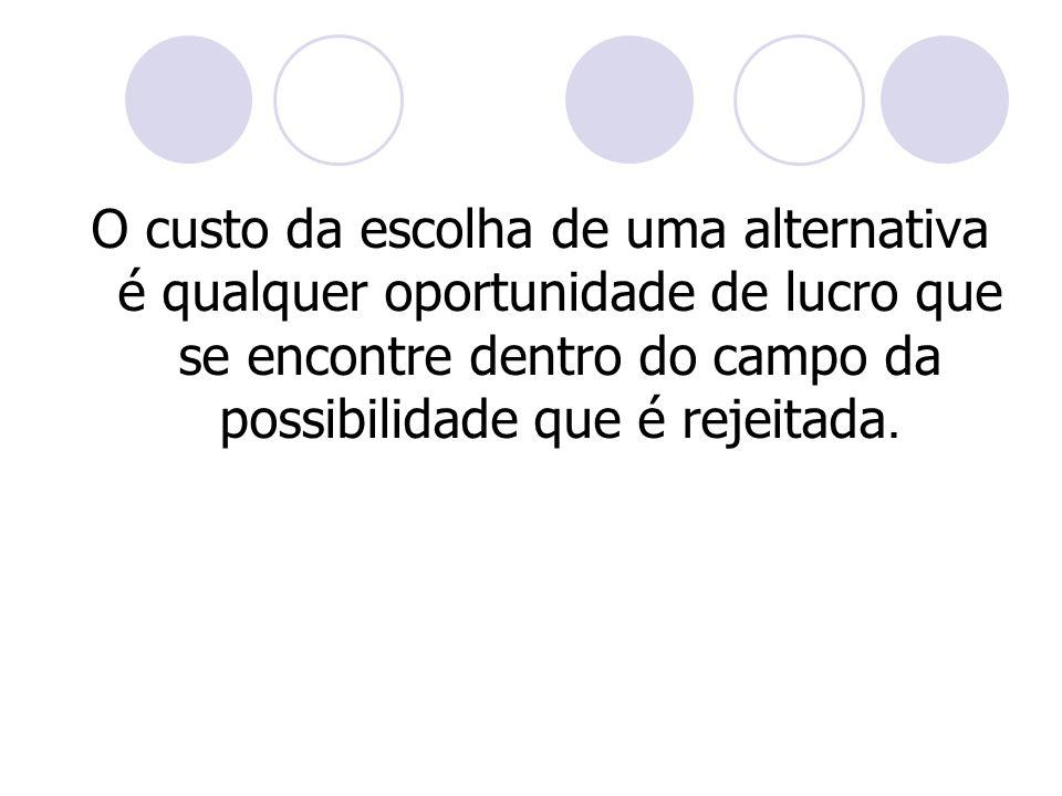 Abordagem Contábil O uso do custo de oportunidade tem sido mais intenso na Contabilidade Gerencial.
