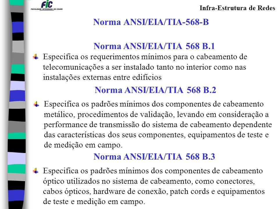 Infra-Estrutura de Redes Norma ANSI/EIA/TIA-568-B Norma ANSI/EIA/TIA 568 B.1 Especifica os requerimentos mínimos para o cabeamento de telecomunicações