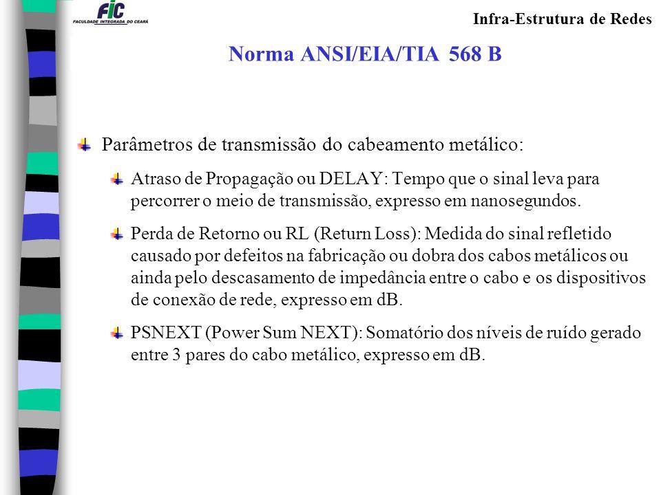 Infra-Estrutura de Redes Norma ANSI/EIA/TIA 568 B Parâmetros de transmissão do cabeamento metálico: Atraso de Propagação ou DELAY: Tempo que o sinal l