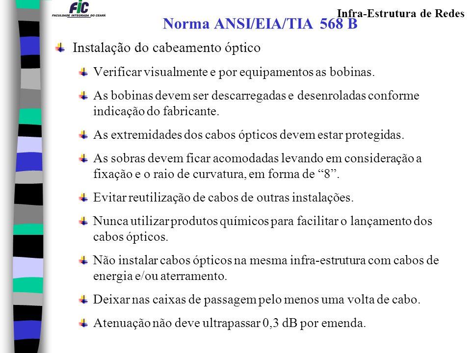 Infra-Estrutura de Redes Norma ANSI/EIA/TIA 568 B Instalação do cabeamento óptico Verificar visualmente e por equipamentos as bobinas. As bobinas deve