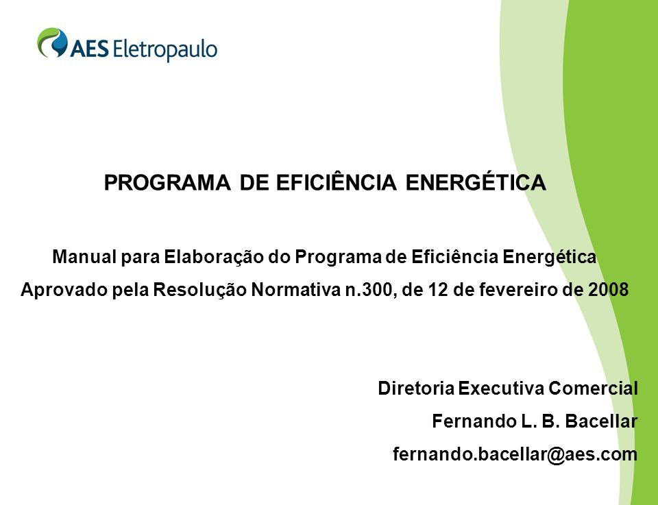 PROGRAMA DE EFICIÊNCIA ENERGÉTICA Manual para Elaboração do Programa de Eficiência Energética Aprovado pela Resolução Normativa n.300, de 12 de fevereiro de 2008 Diretoria Executiva Comercial Fernando L.