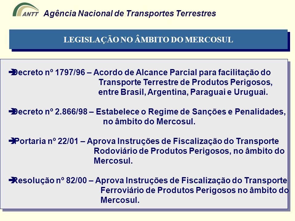 Agência Nacional de Transportes Terrestres LEGISLAÇÃO NO ÂMBITO DO MERCOSUL Decreto nº 1797/96 – Acordo de Alcance Parcial para facilitação do Transpo