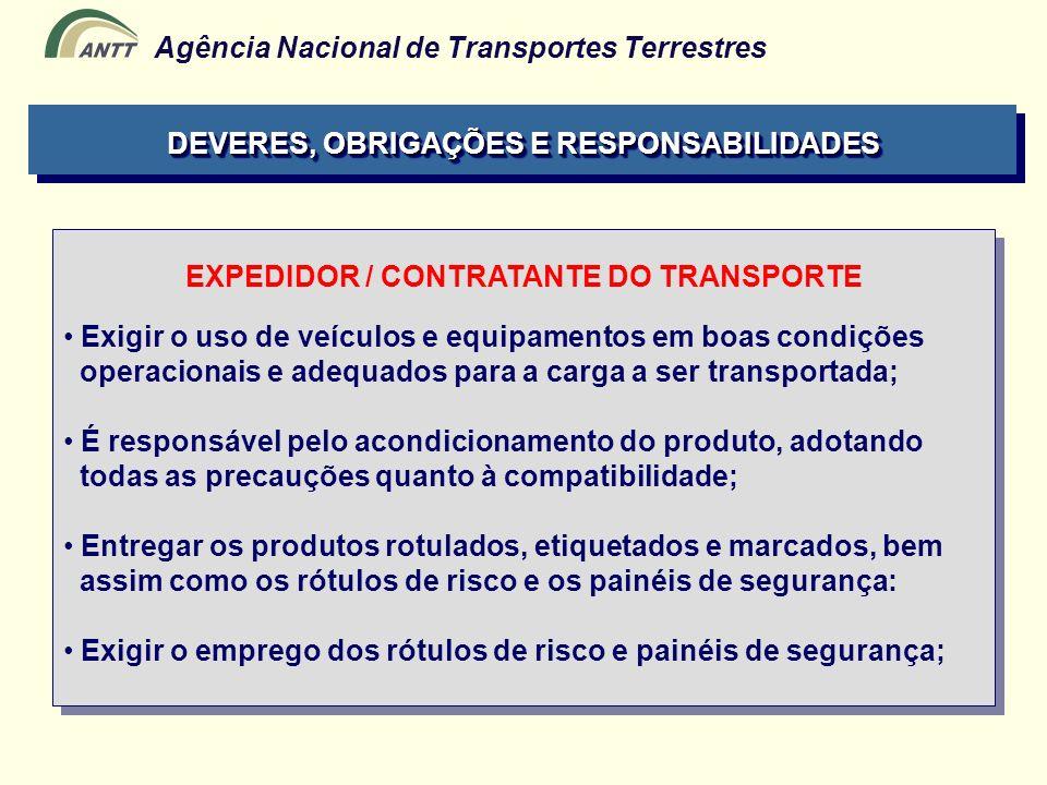 Agência Nacional de Transportes Terrestres EXPEDIDOR / CONTRATANTE DO TRANSPORTE Exigir o uso de veículos e equipamentos em boas condições operacionai