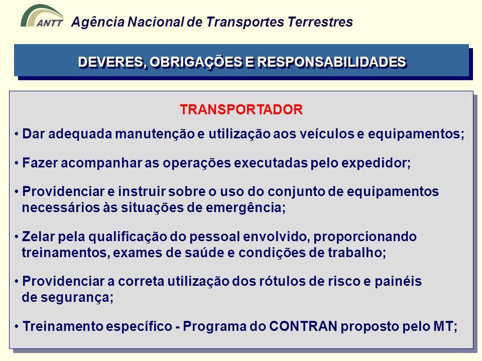 Agência Nacional de Transportes Terrestres TRANSPORTADOR Dar adequada manutenção e utilização aos veículos e equipamentos; Fazer acompanhar as operaçõ