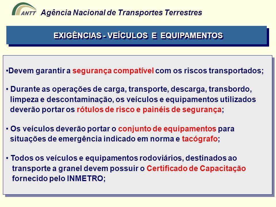 Agência Nacional de Transportes Terrestres Devem garantir a segurança compatível com os riscos transportados; Durante as operações de carga, transport