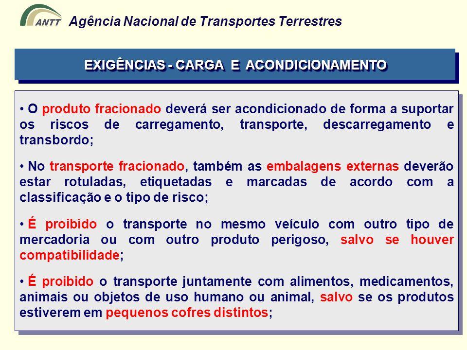 Agência Nacional de Transportes Terrestres O produto fracionado deverá ser acondicionado de forma a suportar os riscos de carregamento, transporte, de