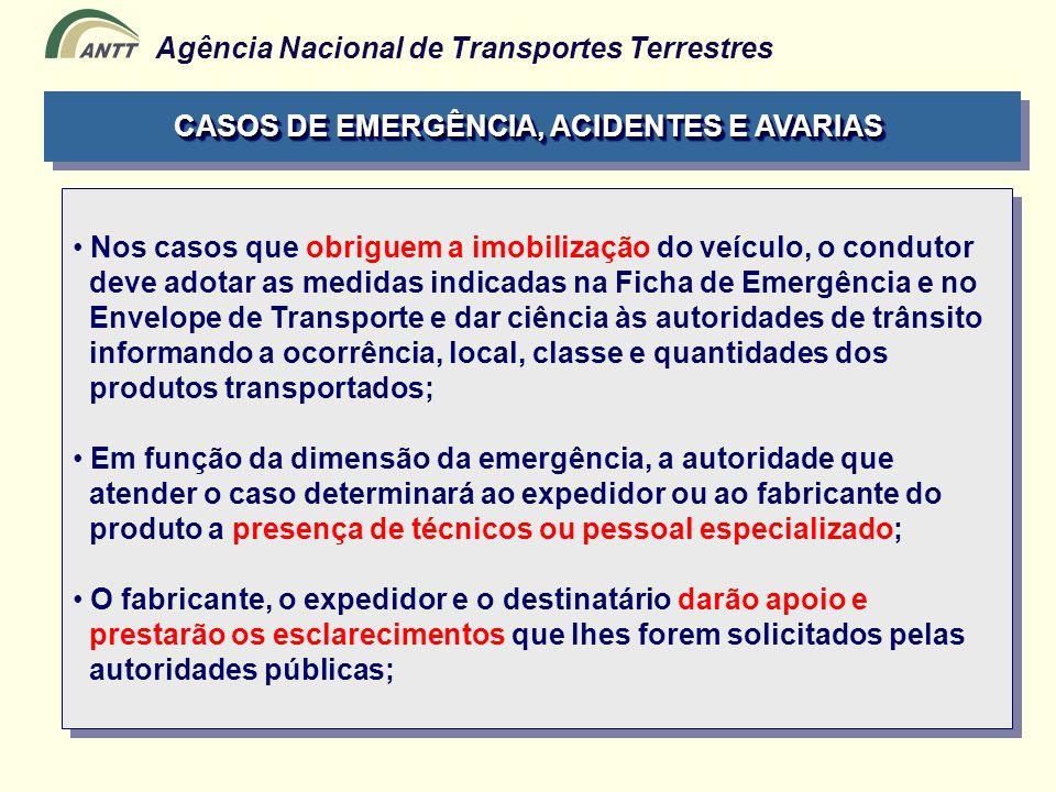 Agência Nacional de Transportes Terrestres Nos casos que obriguem a imobilização do veículo, o condutor deve adotar as medidas indicadas na Ficha de E