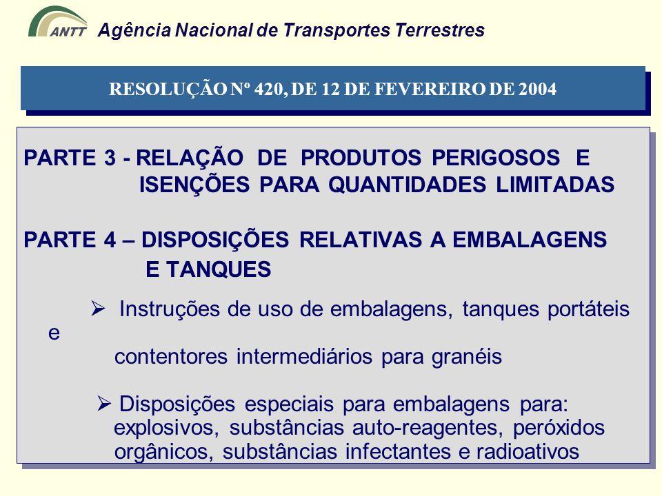 Agência Nacional de Transportes Terrestres PARTE 3 - RELAÇÃO DE PRODUTOS PERIGOSOS E ISENÇÕES PARA QUANTIDADES LIMITADAS PARTE 4 – DISPOSIÇÕES RELATIV