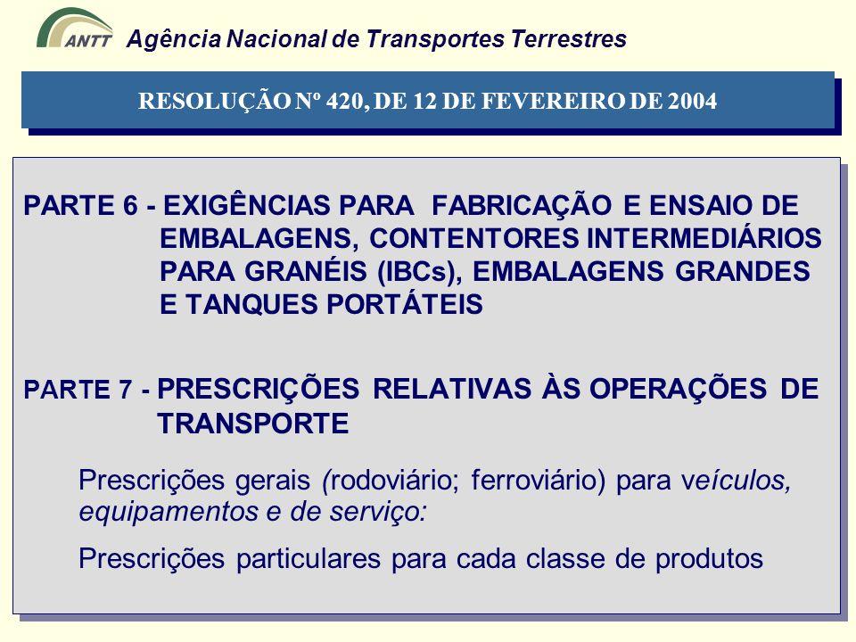 Agência Nacional de Transportes Terrestres PARTE 6 - EXIGÊNCIAS PARA FABRICAÇÃO E ENSAIO DE EMBALAGENS, CONTENTORES INTERMEDIÁRIOS PARA GRANÉIS (IBCs)