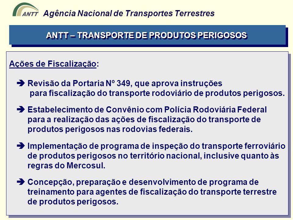 Agência Nacional de Transportes Terrestres ANTT – TRANSPORTE DE PRODUTOS PERIGOSOS Ações de Fiscalização: Revisão da Portaria Nº 349, que aprova instr