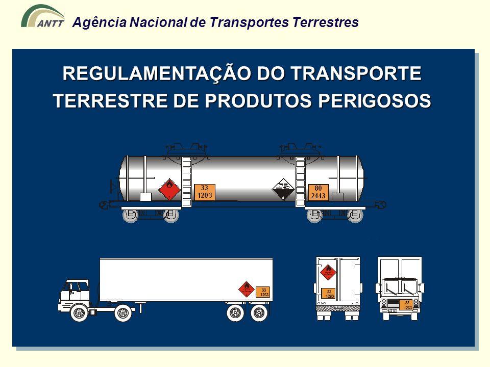 Agência Nacional de Transportes Terrestres Decreto-Lei Nº 2.063 (6/10/83) Dispõe sobre a regulamentação do transporte de Produtos Perigosos Decreto Nº 96.044 ( 18/5/88 ) Aprova o regulamento do transporte rodoviário de produtos perigosos Decreto Nº 98.973 (21/2/90) Aprova o regulamento do transporte ferroviário de produtos perigosos Decreto Nº 4.097 (23/1/02) Altera a redação de arts.