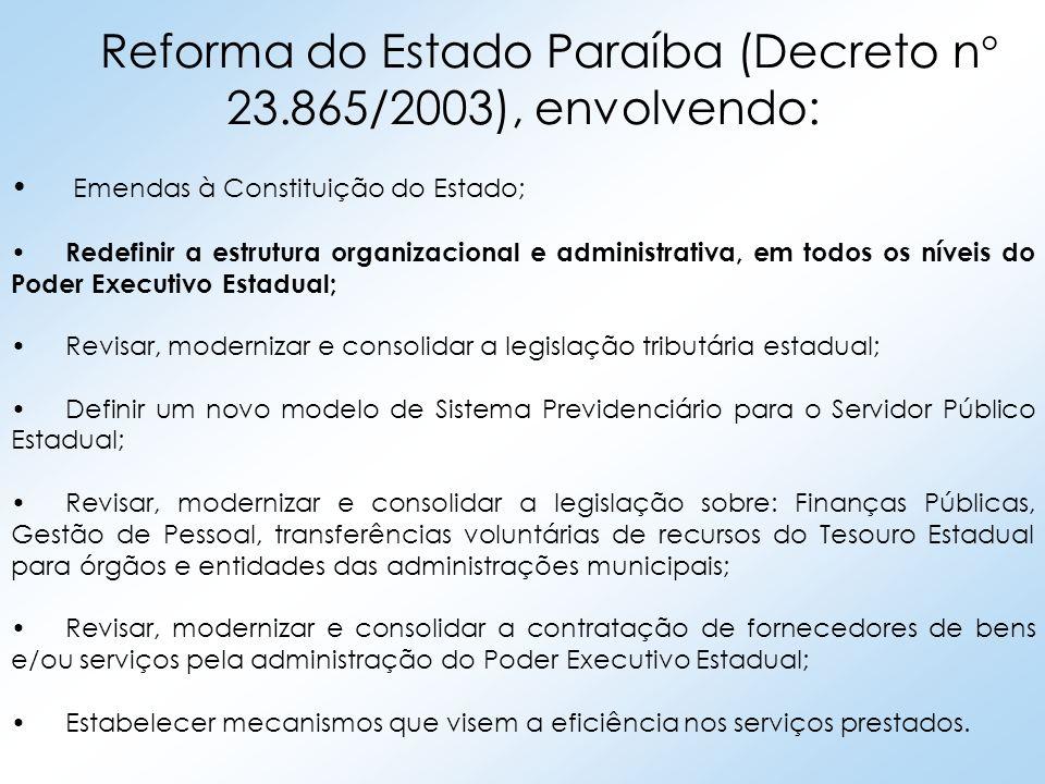 Reforma do Estado Paraíba (Decreto n° 23.865/2003), envolvendo: Emendas à Constituição do Estado; Redefinir a estrutura organizacional e administrativ