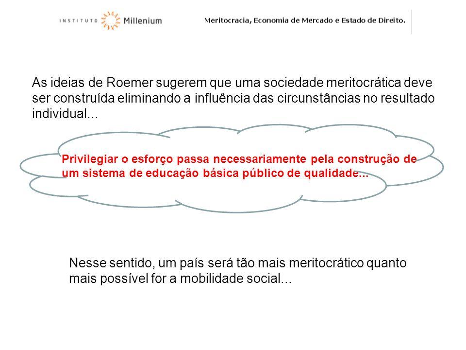 As ideias de Roemer sugerem que uma sociedade meritocrática deve ser construída eliminando a influência das circunstâncias no resultado individual...