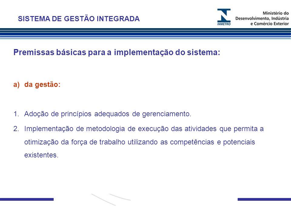 Premissas básicas para a implementação do sistema: a)da gestão: 1.Adoção de princípios adequados de gerenciamento. 2.Implementação de metodologia de e
