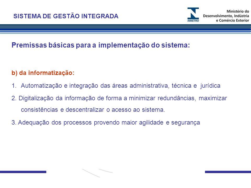 . Premissas básicas para a implementação do sistema: b) da informatização: 1.Automatização e integração das áreas administrativa, técnica e jurídica 2