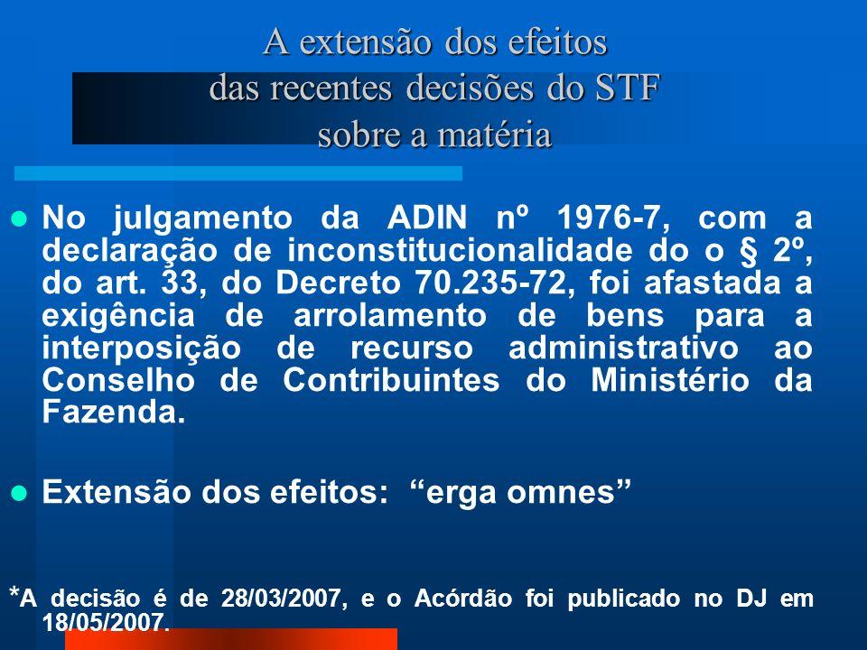 A extensão dos efeitos das recentes decisões do STF sobre a matéria No julgamento da ADIN nº 1976-7, com a declaração de inconstitucionalidade do o § 2º, do art.