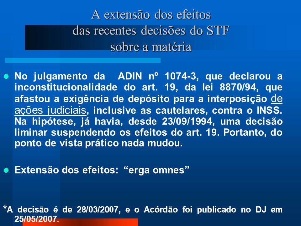 A extensão dos efeitos das recentes decisões do STF sobre a matéria No julgamento da ADIN nº 1074-3, que declarou a inconstitucionalidade do art.